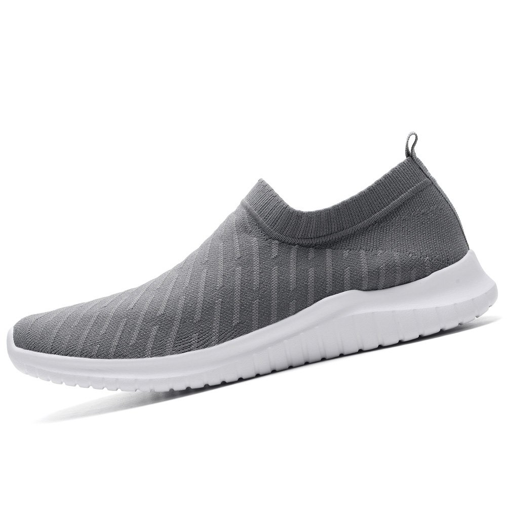 KONHILL Women's Lightweight Casual Walking Running Athletic Shoes Breathable Mesh Running Walking Slip-on Sneakers B07BLK7DHB 11 B(M) US|2108 D.gray a61b20