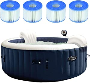 Intex 28405E PureSpa 4 Person Home Outdoor Inflatable Portable Heated Round Hot Tub Spa 58-inch x 28-inch with 120 Bubble Jets, Built in Heat Pump, and 4 Type S1 Filter Cartridges