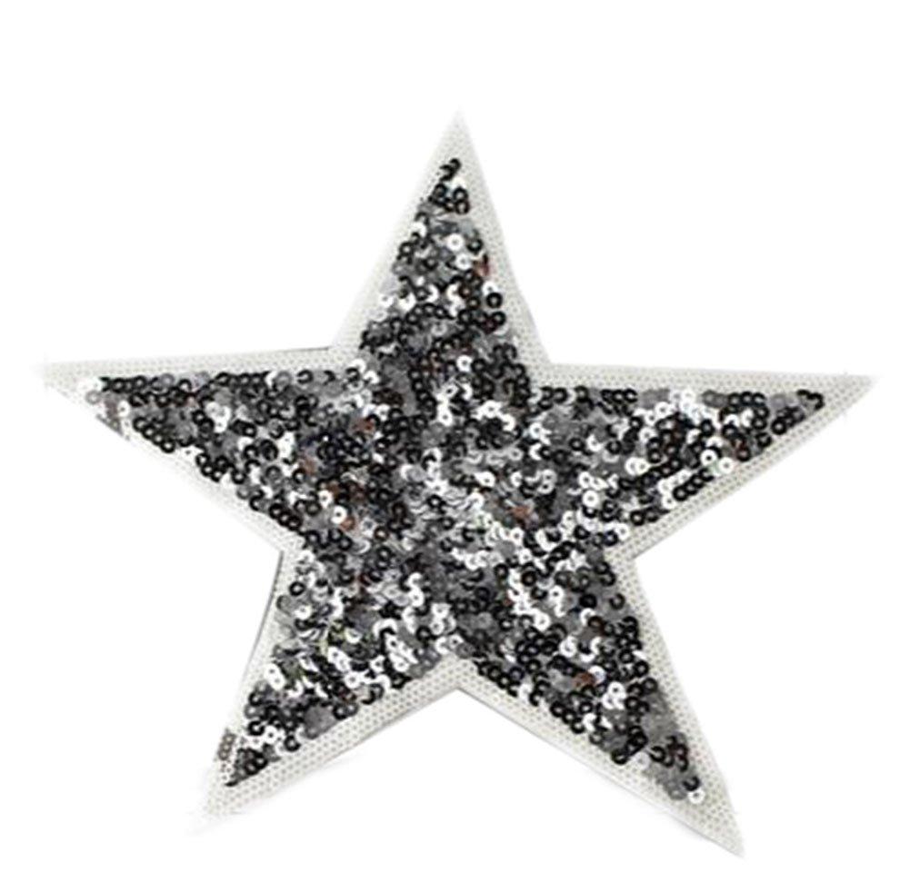 Parche Wicemoon con forma de estrella de 5 puntas, color plateado, con lentejuelas, para prendas de vestir