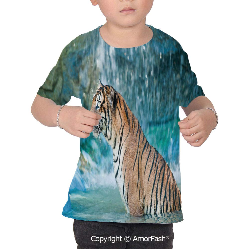 Tiger Colorful Boys and Girls Soft Short Sleeve T-Shirt,Feline Beast in Pond Sea