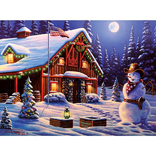 Bits and Pieces - 300 Piece Jigsaw Puzzle for Adults - Cowboy Christmas - 300 pc Winter Holiday Snowman Jigsaw by Artist Geno Peoples