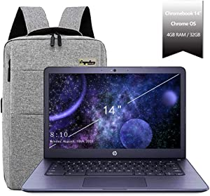 "2020 HP 14"" Lightweight Chromebook AMD A4-Series Processor, 4GB RAM, 32GB eMMC Storage, Webcam, WiFi, Chrome OS (Google Classroom or Zoom Compatible) Navy/Legendary Accessories"