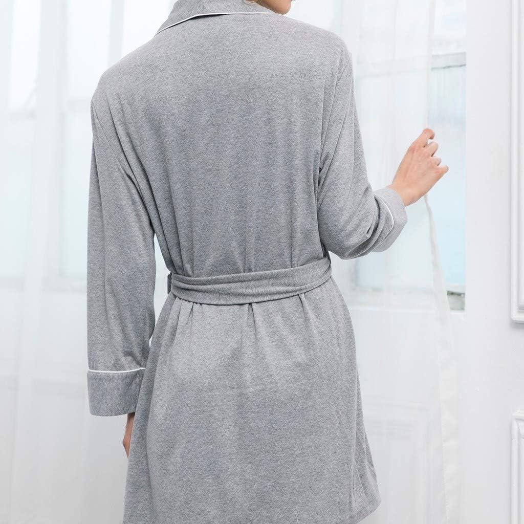 Randolly Womens Lingerie,Ladies Long Sleeve Cotton Spa Comfortable Bath Knit Pajamas