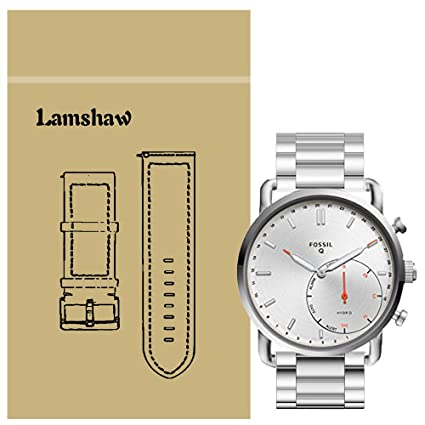 for Fossil Q Commuter Band, Lamshaw Stainless Steel Metal Replacement Straps for Fossil Hybrid Smartwatch - Q Commuter (Silver)