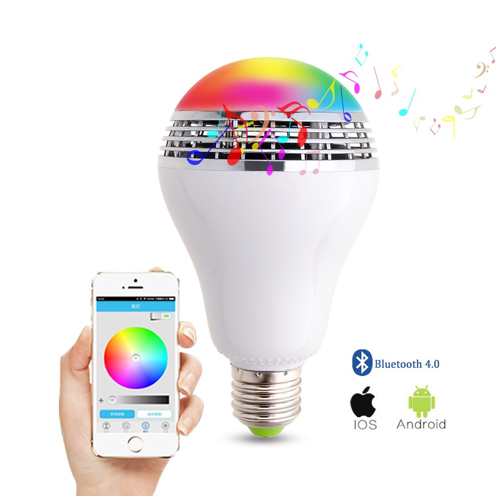 Wireless Bluetooth Speaker Smart LED Light Bulb - WEKSI Dimmable Multicolored Color Changing Lights Desk Lights Bar Sinks - Smartphone Free APP Controlled by Weksi