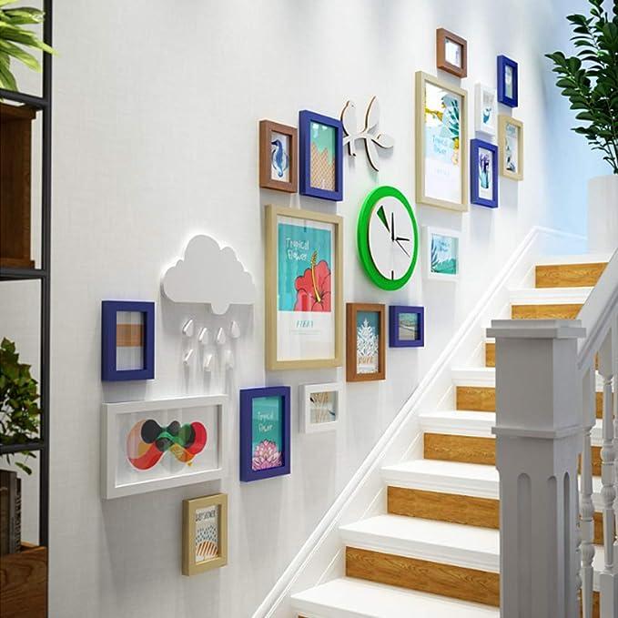 QJKai Escalera Foto Pared pequeña combinación Fresca Foto Marco Viento Industrial Pintura Decorativa Foto reemplazable: Amazon.es: Hogar