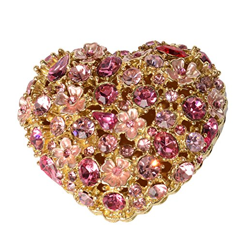 Jiaheyou Heart Shape Flower Jeweled Trinket Jewelry Box Metal Decoration Valentine's Day Gifts