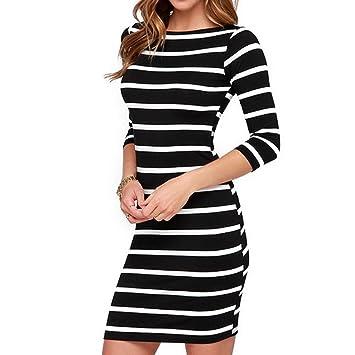 OULII Damen Ärmel Kleid weiß und schwarz gestreift Mini Slim Fit ...