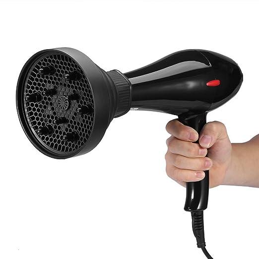 Difusor de secador de pelo profesional adaptador para - Secador de cabello plegable herramienta de peluquería capot Universal 13.8 x 11.5 cm, color negro: ...
