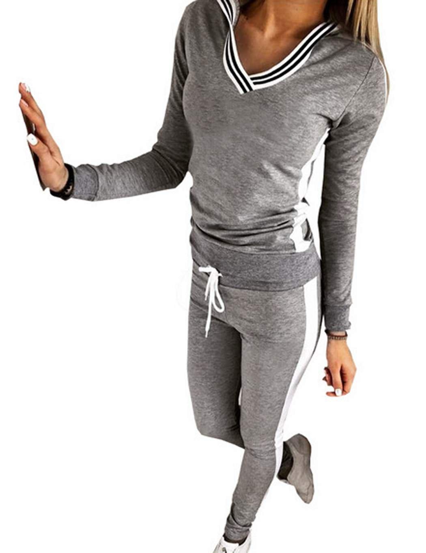 eshion Womens Long Sleeve 2 Piece Sweater/Joggers Tracksuit