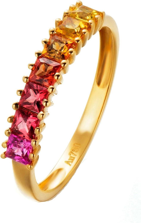 Epinki Anillo de Diamantes para Mujer Oro de 18 quilates Anillos (Au750), 0.97Ct Cuadrado con 7 Colorido Diamante Anillos de Compromiso Anillo Solitario Para Novia