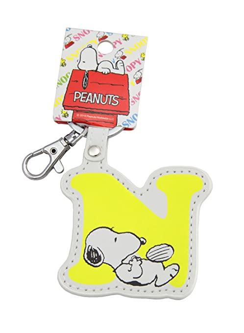 Snoopy Llavero de Piel sintética con Diseño de Inicial ...