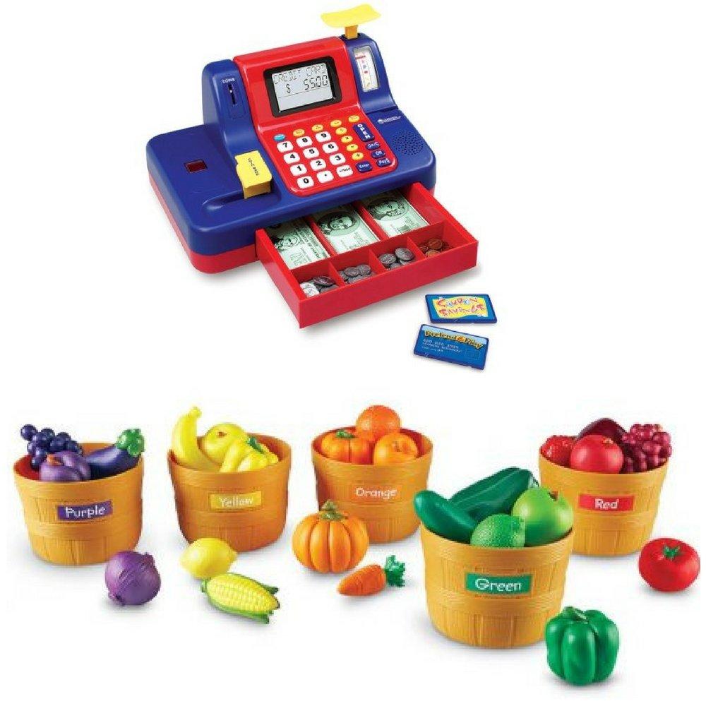 Pretend & Play Teaching, Talking Cash Register & Farmer's Market Color Sorting Set, Kid Presents, Imaginative Play, Toy Fruits & Veggies, Kids Sorting, Interactive Games, Math Basic Skills