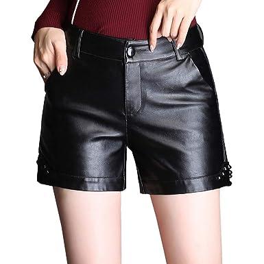 8a070a0bdc DISSA F9870 Shorts Pantalons Court Taille Haute Zippée Cuir PU Femme:  Amazon.fr: Vêtements et accessoires