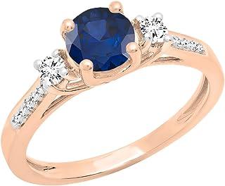DazzlingRock Collection Femme Or Blanc 10K Ronde Saphir Bleu et Blanc Diamant Twisted Shank de Split Promise Anneau (7) 7 DR7460-3225-10KR
