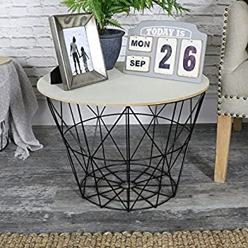 Melody maison black metal wire basket wooden top side table amazon melody maison black metal wire basket wooden top side table keyboard keysfo Choice Image