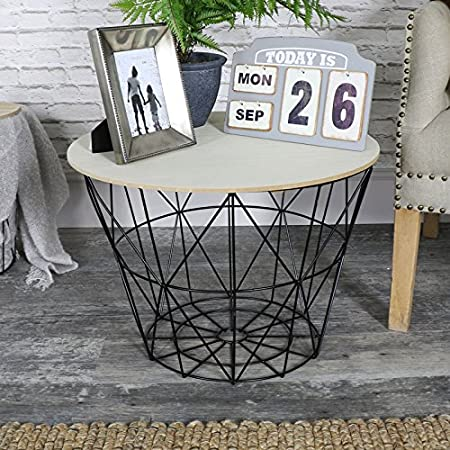Melody maison black metal wire basket wooden top side table amazon melody maison black metal wire basket wooden top side table greentooth Gallery