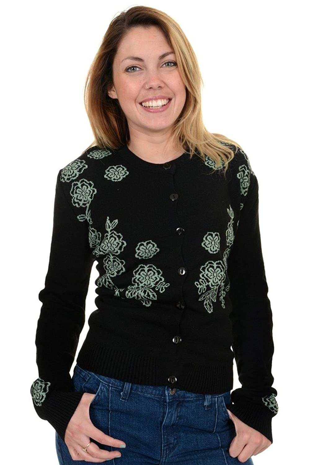 1960s Style Sweaters & Cardigans  50s 60s Retro New Vintage Black & Mint Floral Cardigan $34.95 AT vintagedancer.com