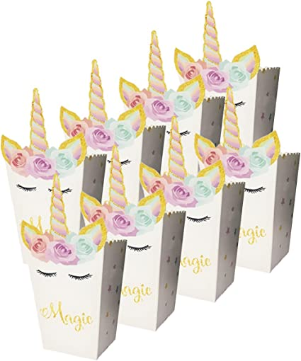 24pcs Popcorn Snack Boxes Rainbow Unicorn Design Treat Box Popcorn Containers for Baby Shower Birthday Party Supplies MoonCastle