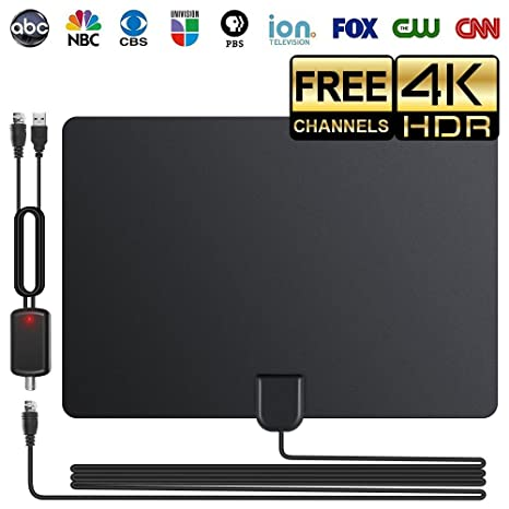 2018 Newest TV Antenna, 80 Mile Long Range Freeview Indoor HDTV Digital  Amplified Antennas for Clearview 4K HD VHF UHF Local Channels with  Detachable