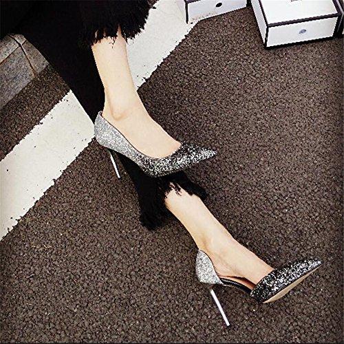 Xue Individuales 41 de Chica Comodín Zapatos la Hembra Zapatos Plata Qiqi Zapatos 8CM y Corte con Altos Comodín Señaló Gradiente Negro Tacones de rAgTrUwq