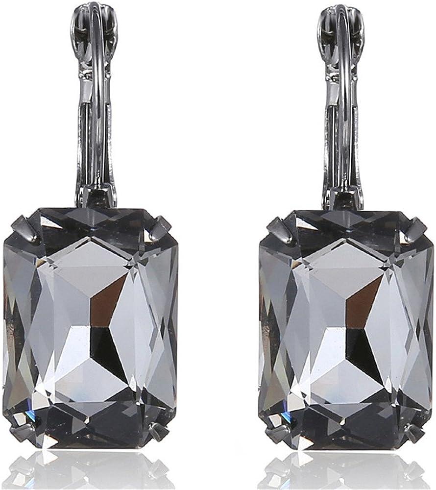 Pendientes de cristal de Navidad con piedras preciosas, gris