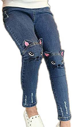 Colorful Childhood Girls Jeans Big Kids Cat Distressed Ripped Hole Slim Denim Pants Teens Jeans
