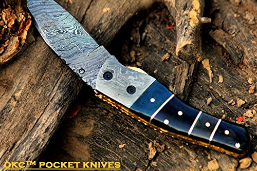 DKC-135-SWAMP-JACK-Damascus-Steel-Folding-Pocket-Knife-45-Folded-8-Open-75oz-35-Blade-High-Class-Looks-Incredible-Feels-Great-In-Your-Hand-And-Pocket-Damascus-Bolster-DKC-Knives