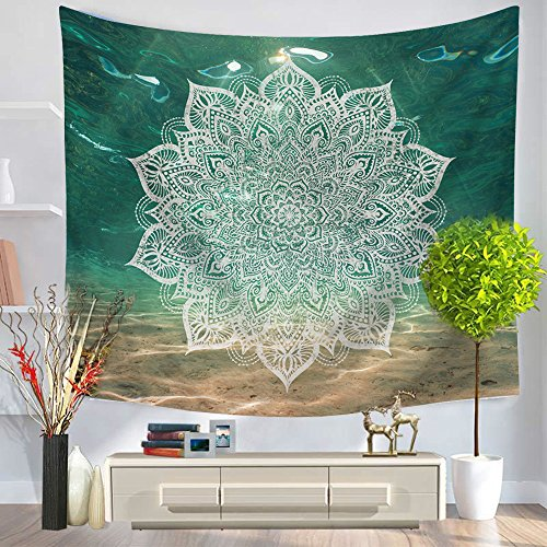 Third Goddess Wall Tapestry, Mandala Tapestry with Floral Starry Pattern, Bedroom Livingroom Dorm Home & Office Dcor