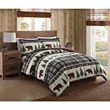 3pc Southwest Cabin Brown Bear Comforter King Set, Forest Woods Hunting Themed Bedding, Pine Trees, Green Plaid, Wilderness Game, Southern Cottage Pattern, Outdoors Log Lodge Nature