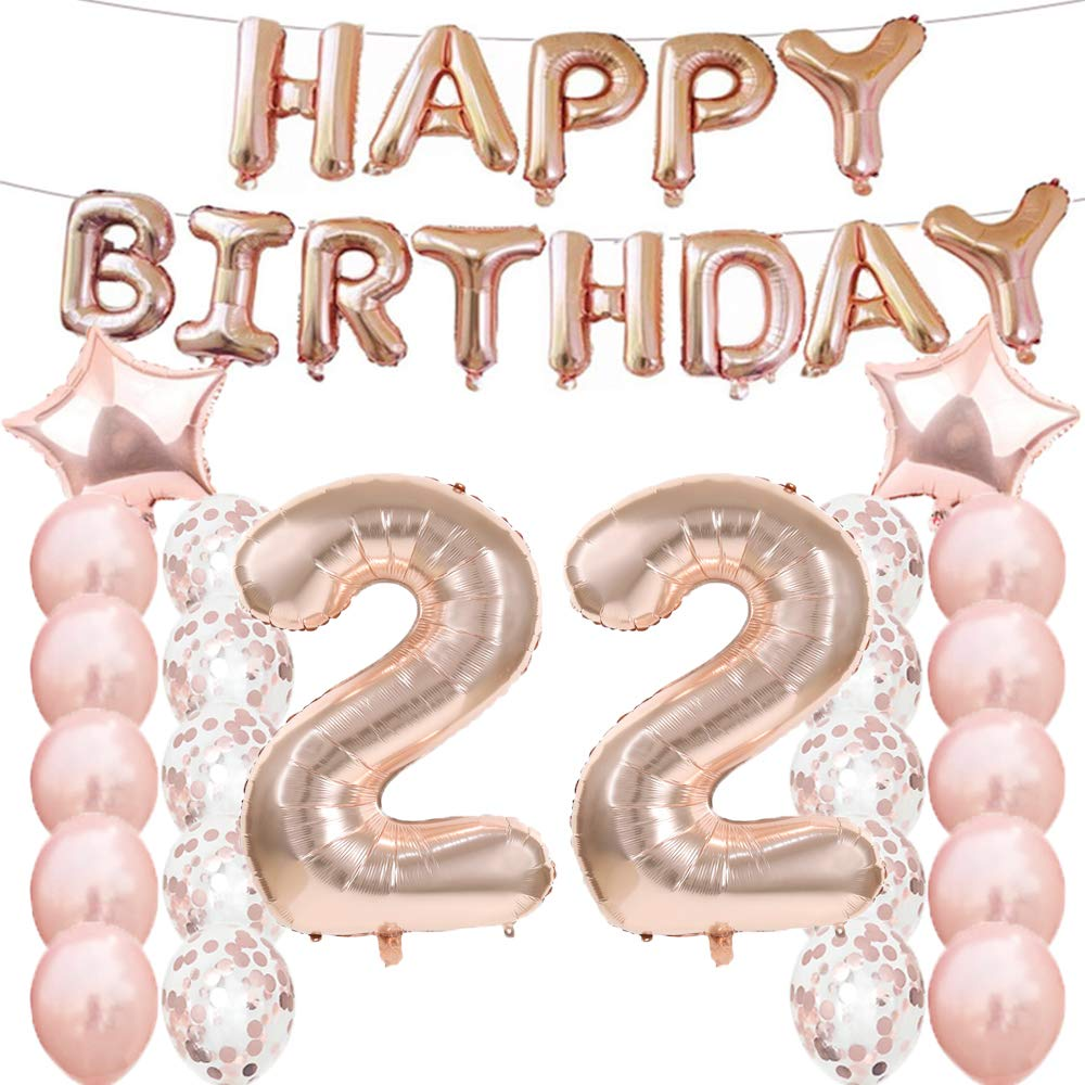 22th Birthday Decorations Party Supplies,22th Birthday Balloons Rose Gold,Number 22 Mylar Balloon,Latex Balloon…