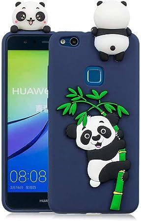 Coque Huawei P10 Lite Fanxwu Dessin Style Mignon 3D Panda Cartoon Silicone Étui Ultra Souple Gel TPU Anti-Rayures Cover - Bleu