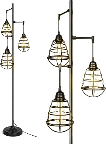 3-Light Black Farmhouse Floor Lamp Industrial Rustic Standing Lamp