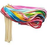 Hangnuo Lot de 30ruban Baguettes avec Bell dragées Streamer Fée Stick Wish Baguettes pour célébrer les fêtes de mariage
