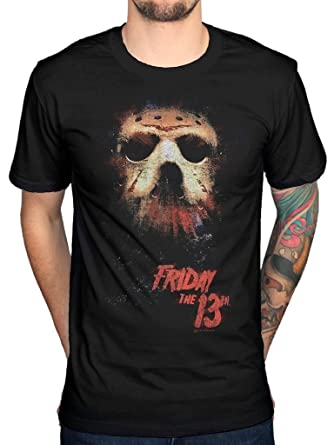 ec369bb03 Official Friday The 13th Mask Glow T-Shirt Film Horror Movie Halloween:  Amazon.co.uk: Clothing