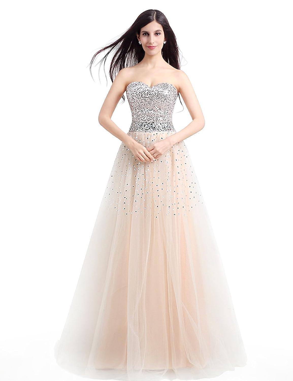 Babyonline® Damen Lang Trägerlos Mit Perlen Brautjunferkleider Abendkleid Cocktailkleider