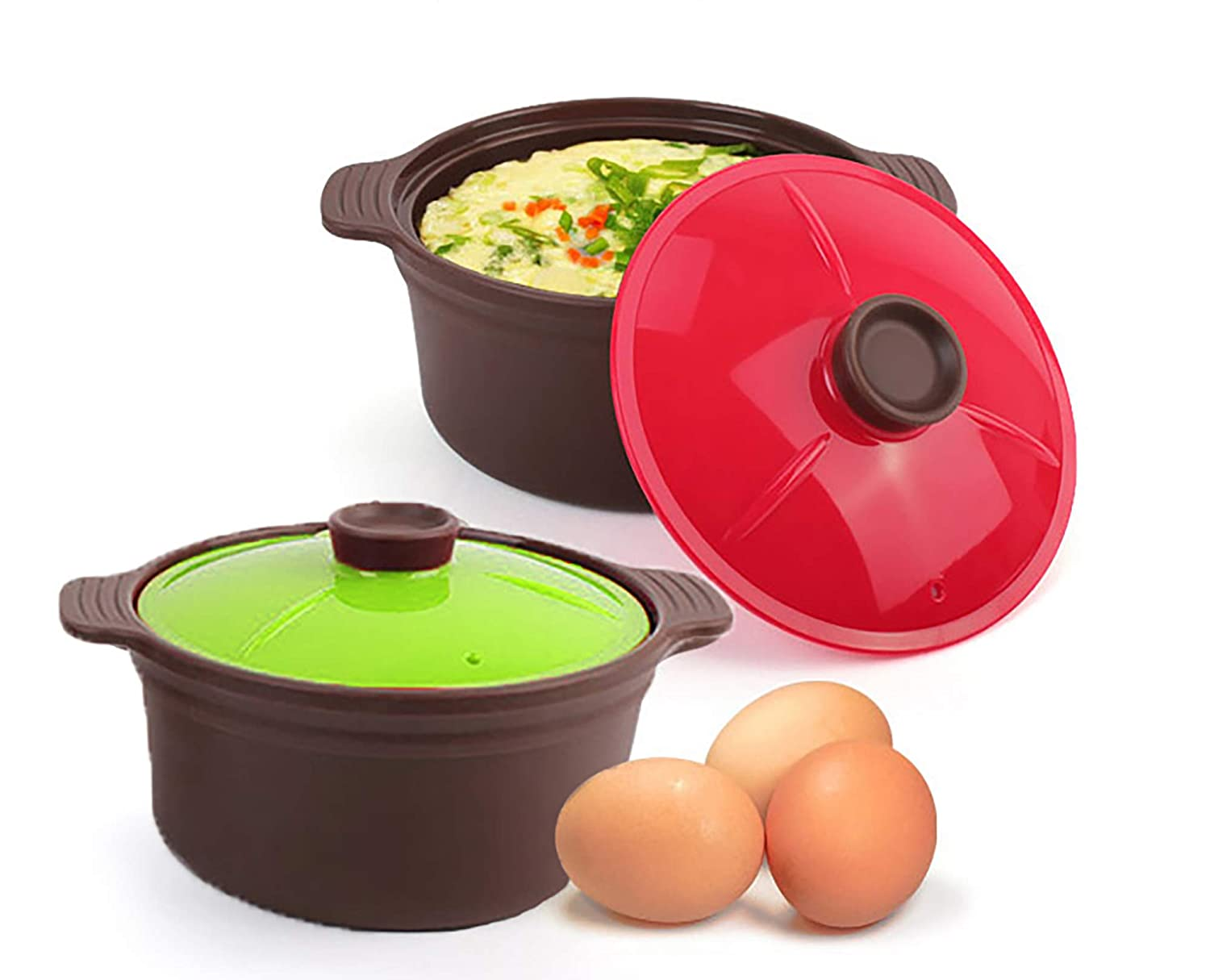 Set of 2 Silicone Microwave Oven Steamer Cooker Container with Lid, 20.3 Fl Oz (Dark Brown Body, Red and Green Lids) – Heat Resistant Up to 482 F, BPA Free, Quick and Convenient Healthy Cooking Vessel, Great for Eggs, Vegetables, Leftovers, Rice, Instant Noodles – Made in Korea