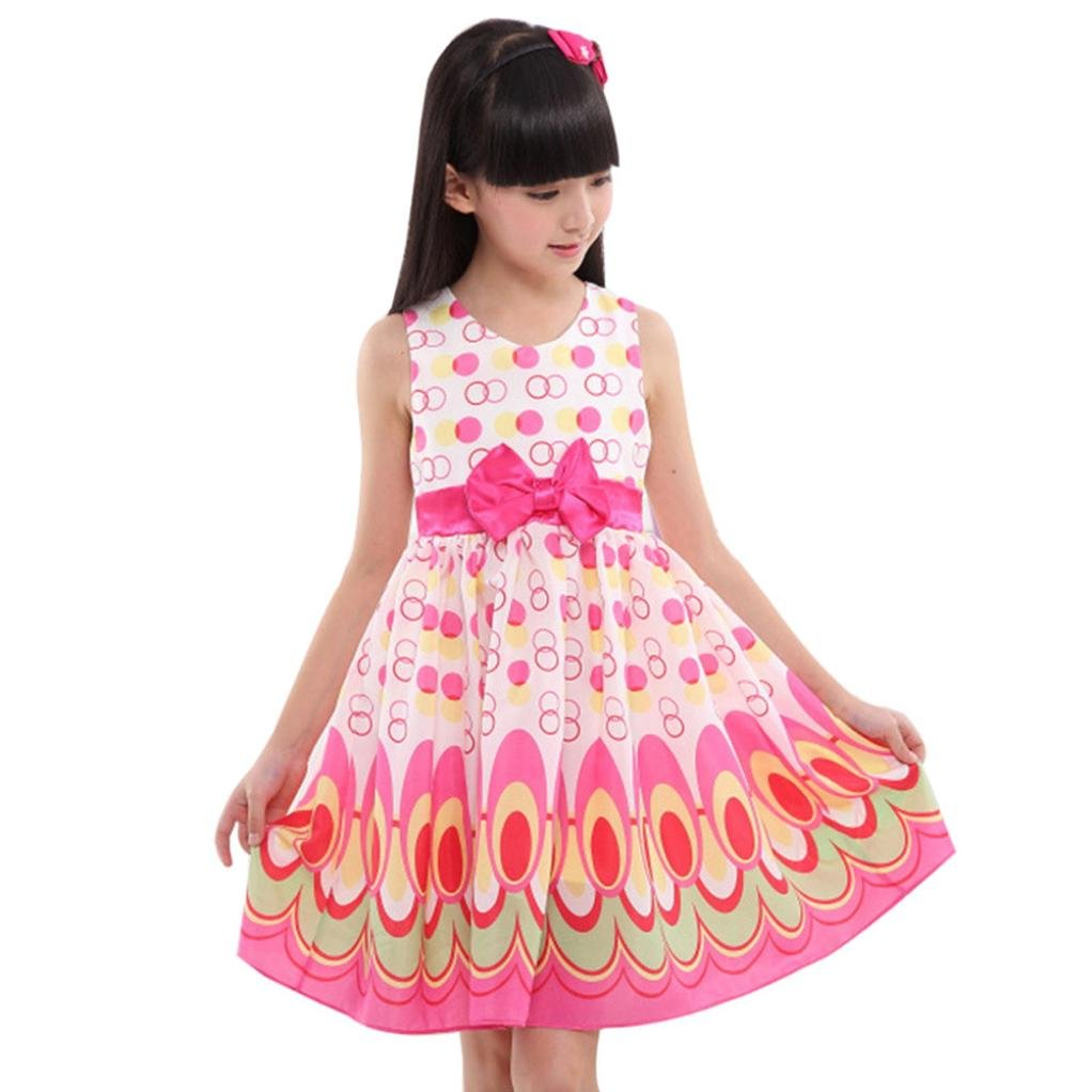 AOJIAN Kids Girls Bow Belt Sleeveless Bubble Peacock Dress Party Clothing Outfits