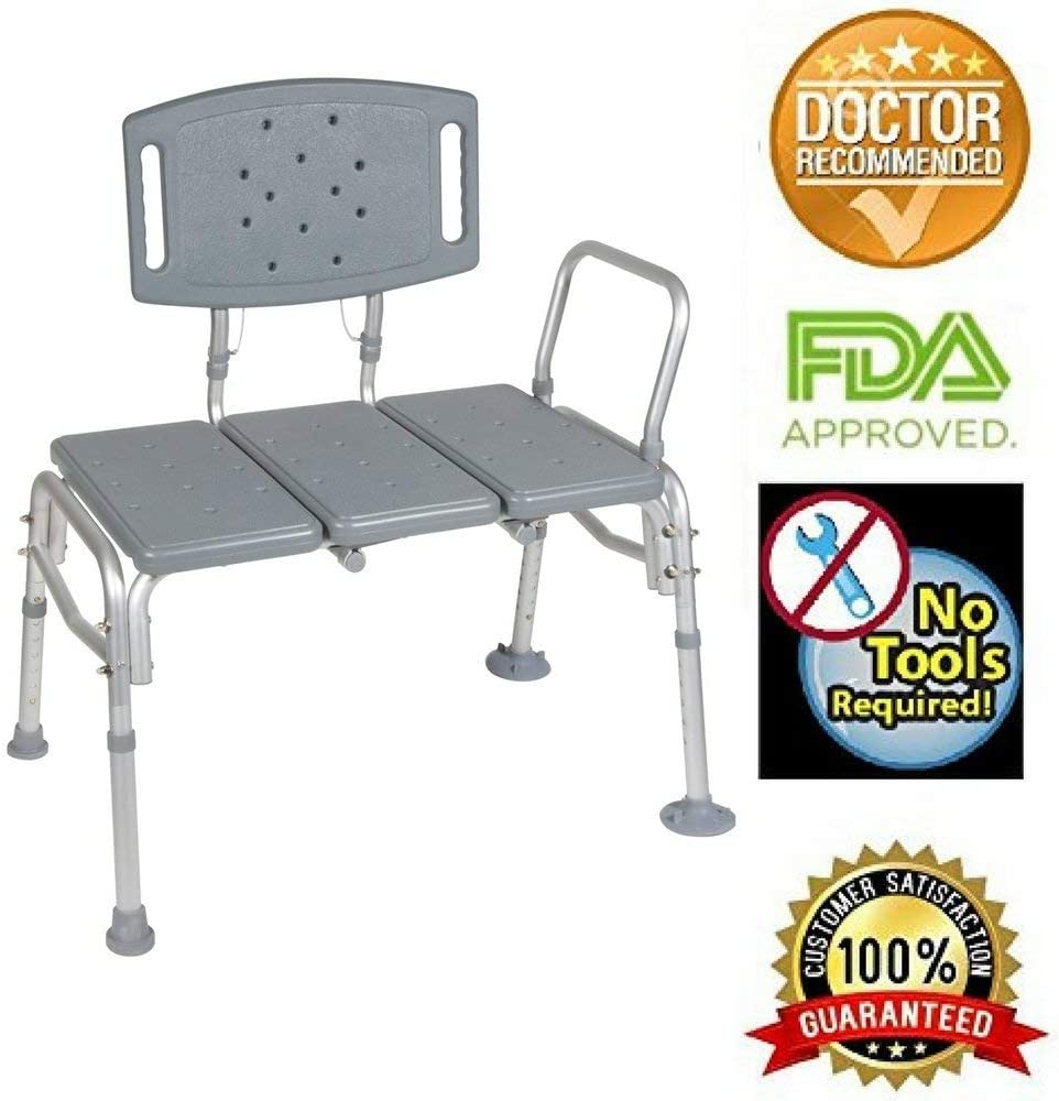 HEALTHLINE Transfer Bench Adjustable Height, Heavy Duty Bariatric Tub Transfer Bench with Back, Non-Slip Seat, Bath Shower Bench Chair Fits Any Bathroom for Elderly, Disabled, 500 lbs Capacity, Gray 61GCeI2B1MrLSL1000_