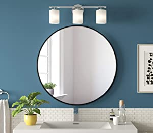 CRZDEAL Round Mirror, 24 Inch Wall-Mounted Mirrors for Daily Use and Home Decor, Circle Mirror for Bathrooms, Living Rooms, Dressing Room and Vanity , Black