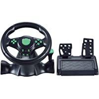 Gaming Steering Wheel with Responsive Pedals-Teepao 180 Degree Rotation Sport Racing Wheel Compatible to XBOX360/PS3/PS2/PC