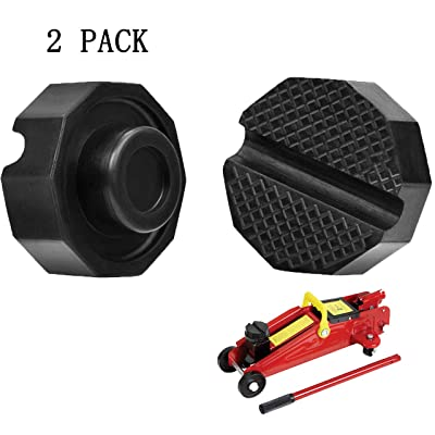 SuboTech 2 Pcs Car Jack Rubber pad - Jacks Rubber pad-Tuning, Rubber Support Jack Universal and Robust (65 x 35mm). Round Groove for More Stability and Support.: Automotive