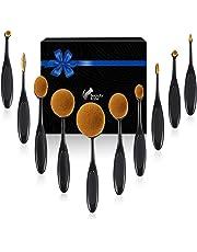 Beauty Kate Makeup Brush Set of 10pcs Professional Super Soft Oval Toothbrush Makeup Brushes (Black) - Foundation Contour Blush Concealer Powder Blending Face Brush Makeup Cosmetics Tool Set