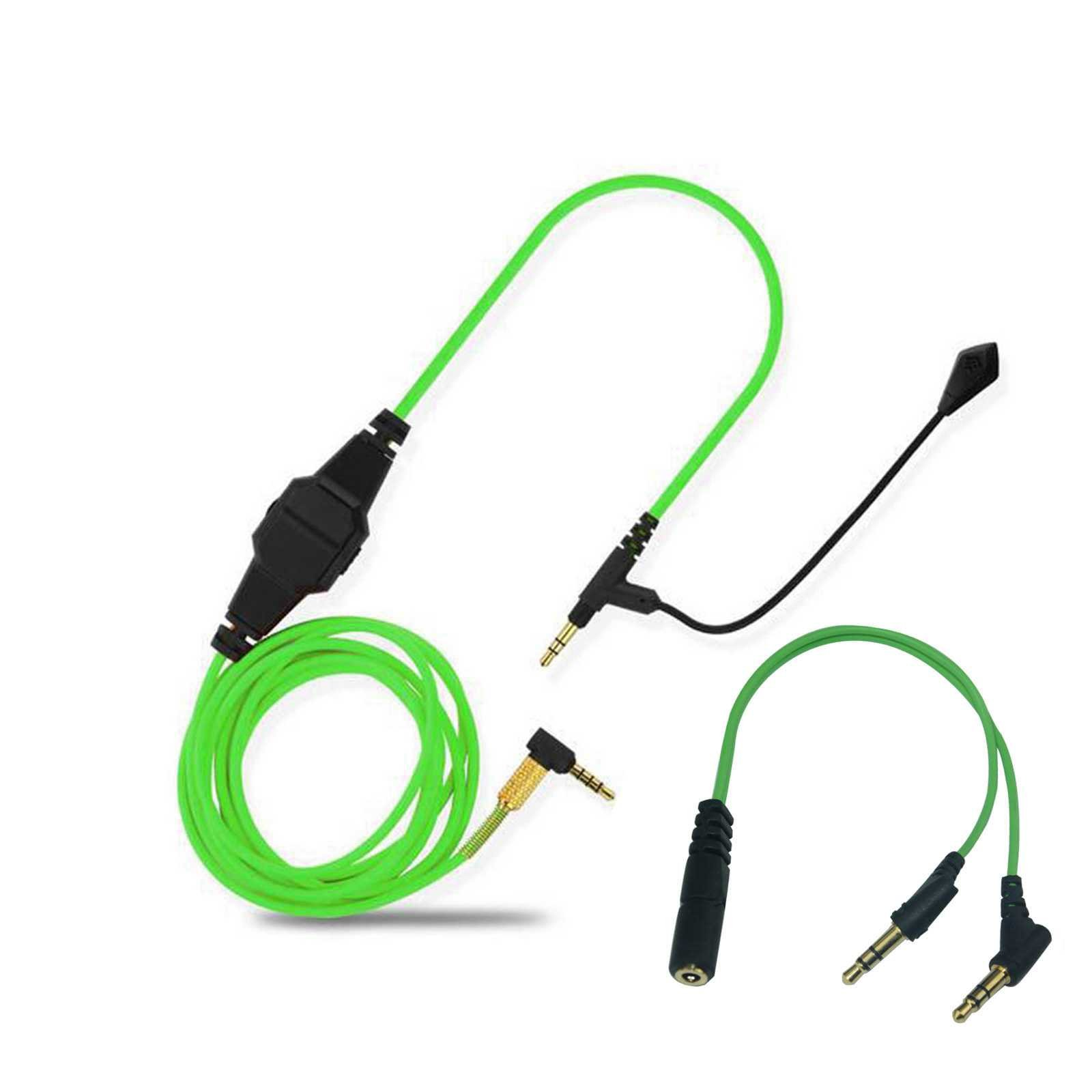 Lovinstar Replacement Cable Boom mic Volume for PS4 PC Xbox One to V-Moda & Most 3.5mm Input Headphone Aduio Cable Computer Game (Green)