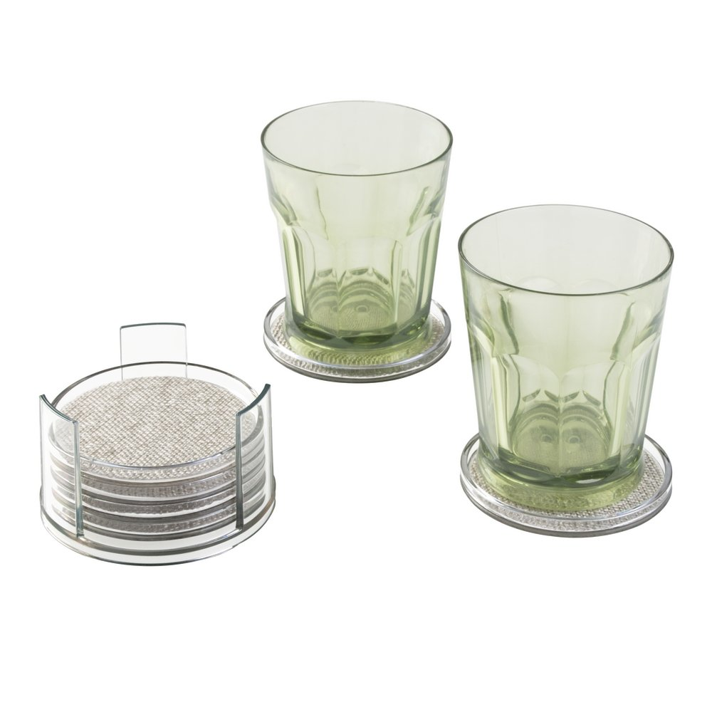 InterDesign Twillo Round Drink Coasters for Home, Kitchen, Dining Room - Set of 6 with Holder, Metallico/Clear