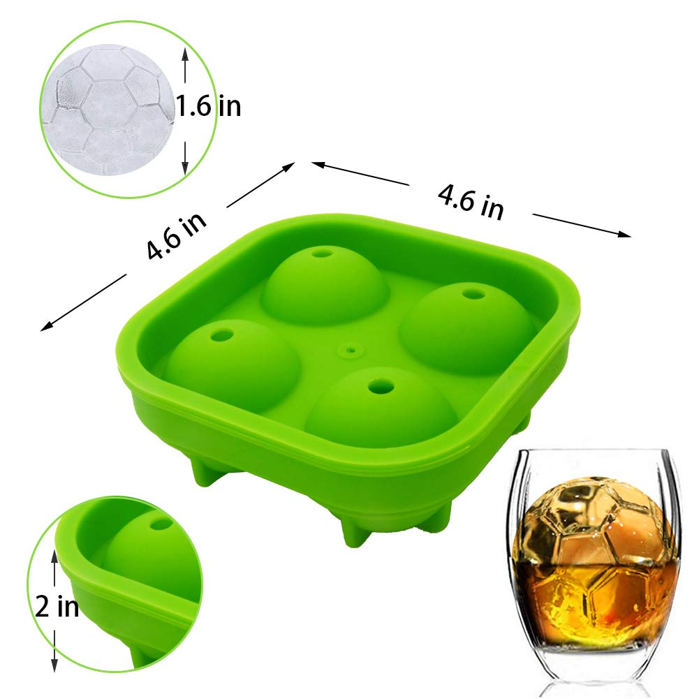 Himi Football Ice Cube Mold 3D Life Soccer Mold Gift for Men Set of 2 Premium Silicone for Whisky Cocktail Ice Ball Tray Maker Football Fans