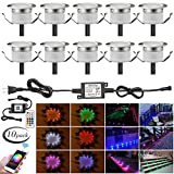 LED Deck Lights Kit, 10pcs Φ1.22'' WiFi Wireless Smart Phone Control Low Voltage Recessed RGB Deck Lamp in-Ground Lighting Waterproof Outdoor Yard Path Stair Landscape Decor, Fit for Alexa,Google Home