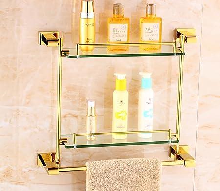 Badezimmer Regal Europäische Stil Gold Glas Regale Doppel-Regal Bad ...