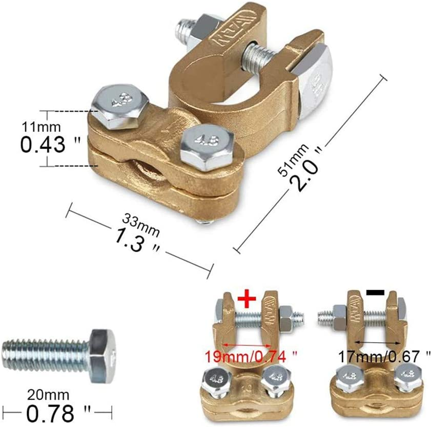 1 Pair Positive /& Negative Copper Battery Cable Terminals Connectors Round Post Clamp Truck Van Marine Boat Heavy Duty Battery Quick Disconnect Terminals Battery Quick Release Connectors