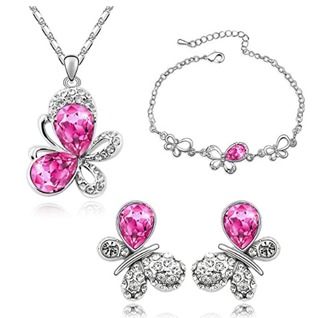 MAFMO Fashion Butterfly Hot Pink Jewelry Sets Necklace and Earrings and Bracelet for Juniors Girls
